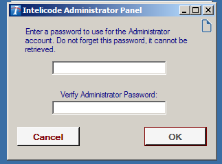 On a new installation, you will be prompted to create an Admin password.