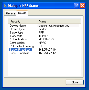 Figure 40: Dialup to NAE Status Dialog Box 6. On the Details tab, note the address in the Server IP address field (Figure 41).