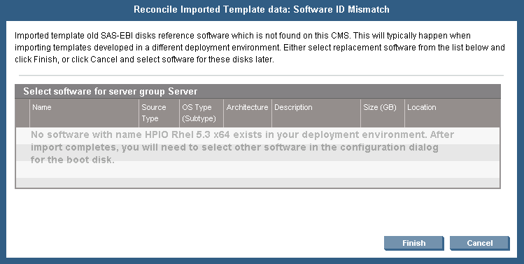 The following dialog will be presented. You should find the file you downloaded and select it here; then press Open. This will import the template into infrastructure orchestration. Figure 18.
