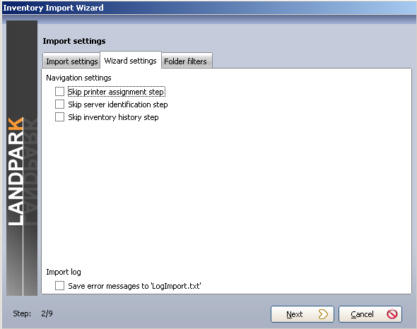 Tools Start to import inventory results Setting is divided into 3 parts : 1 - Import settings The import setting tab allows you to set data that you wish to import into the database.
