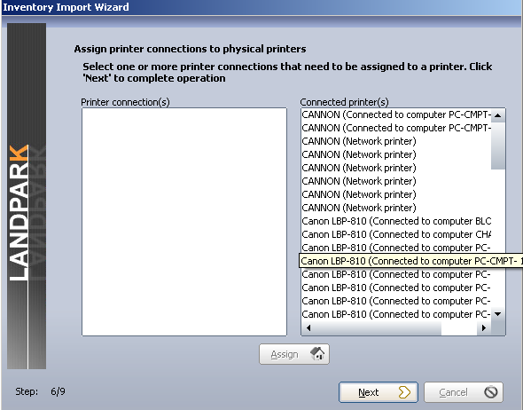 ". \ Results"" located on the same PC that hosts NetworkIP consol. Make a selection on Pcs to import or to update."