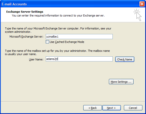 Select Microsoft Exchange Server for Server Type, and click Next: In the Microsoft Exchange Server field,
