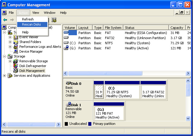 16. Select Disk Management (Local) under the Name pane. The following will appear. You can see the new volume appear in your list of drives (labeled Unknown in our example).