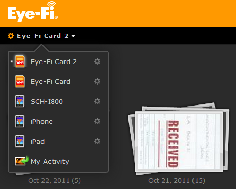 Select the specific card from the drop-down list on