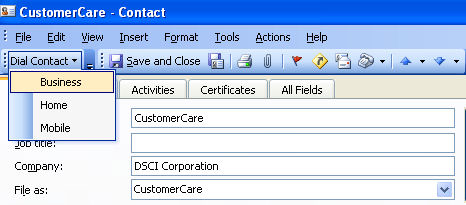 Dial from vcard To dial from a vcard: 1. Click Contacts in the folder list. 2. Double-click the contact you want to call. Outlook opens the contact s vcard. 3.