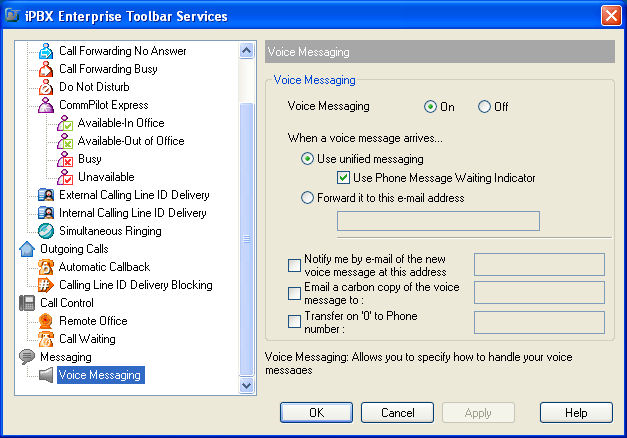 Messaging The Messaging pages in the Options dialog allow you to configure your Voice Management settings.