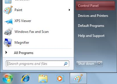 Windows 7 1. Click on Start, and then click Control Panel. 2.