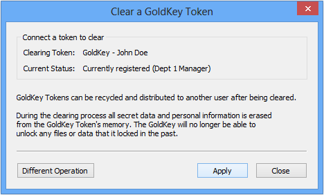 Figure 27. Syncing Group Names Clearing a GoldKey Clearing a GoldKey will make previously locked data inaccessible to that token.
