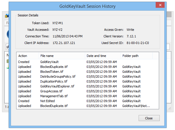 To view access logs, open the GoldKeyVault Explorer, find and select the appropriate Vault, GoldKey group or token, and then click on the Properties button. From there, select the Access History tab.