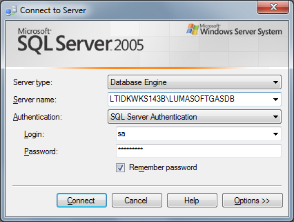How to restore the LumaSoft Gas database A. Start the SQL Server Management Studio Express application. B.