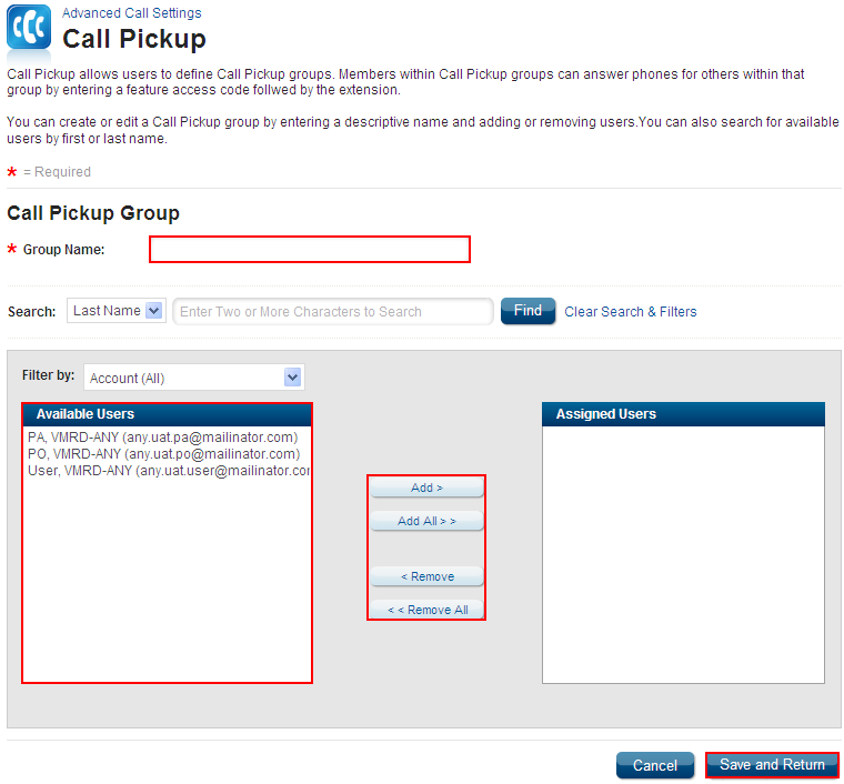Call Pickup Feature Description Call Pickup enables answering any line ringing within a Call Pickup Group. It is available with the VoiceManager Anywhere package and IP Centrex service.