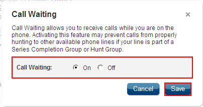 Call Waiting Feature Description Call Waiting notifies you of an incoming call while on the phone by sounding two short bursts allowing you to ignore the incoming call, or place the first call on