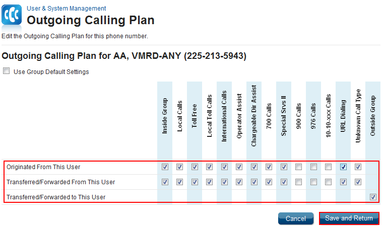 Outgoing Calling Plan by User 1. Log in to VoiceManager MyAccount. 2. Click the VoiceManager Tools menu in the left navigation bar. 3. Click the User & System Management tab. 4.