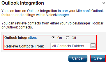 Outlook Integration Feature Description Outlook Integration enables the use of personal contact lists with the VoiceManager Toolbar, Receptionist Console, and Personal and Group directories.