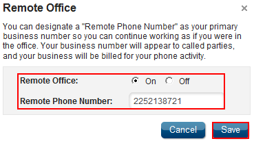 Remote Office Feature Description Remote Office allows you to associate a remote phone number with your primary business number. Make and receive calls as if from the office!