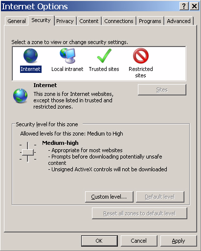 4 Configuring Internet Explorer for Voyager on Client Computers 9 Click the Security tab. 10 Select the Internet zone.