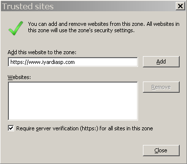 Configuring Internet Explorer for Voyager on Client Computers 5 15 Click Sites. The Trusted sites screen appears.