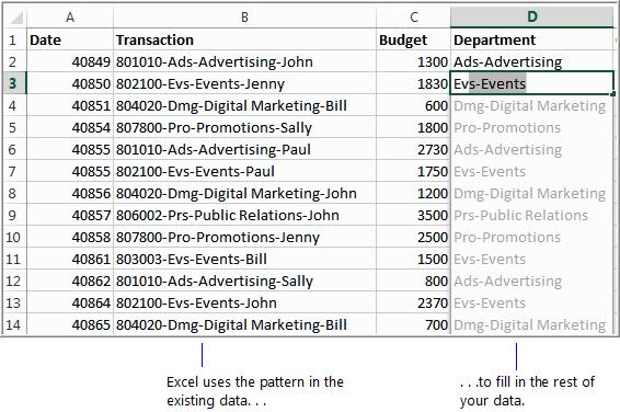 4 What s new in Excel 2013 Flash Fill is useful whenever you have a lot of data to clean up; for example, when you import it from another program.