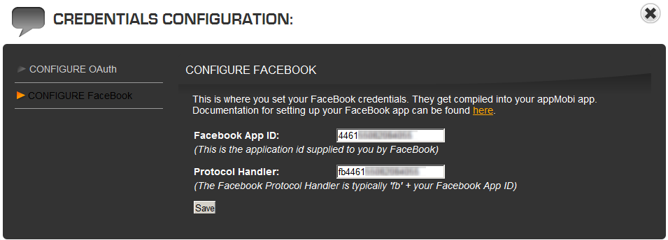 Select the Configure Facebook option, and then paste the Facebook App ID copied from the previous step into the appropriate edit field.