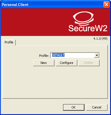 If it is not already open, launch the SecureW2 client from your start menu. Step 2. Select the Profile from the dropdown box you wish to configure. You can also add a new profile by clicking on new.