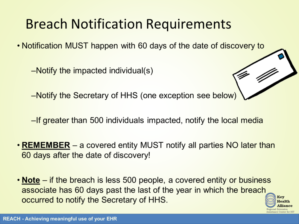 When a covered entity or business associate determine that a breach has occurred, notification must be done to the appropriate parties.