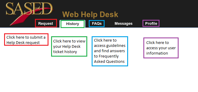 3. Upon logging in for the first time, you will be taken to Help History.