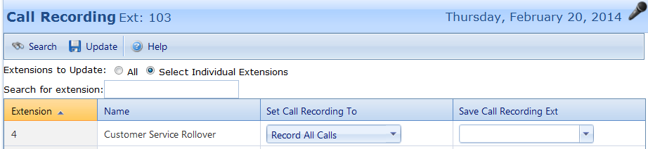 SECTION 14: Call recording If you have selected the call recording option, must be set-up by the administrator.