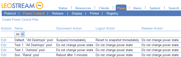 Chapter 2: Quick Setup New Connection Broker installations contain one default power control plan, called Default. You can create as many additional power control plans as needed for your deployment.