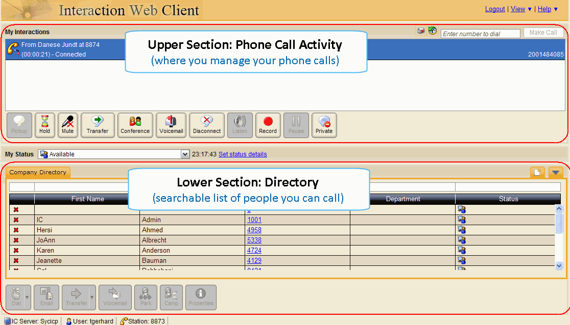 Part III: WEB Version of the Software The Web-based version of the VoIP Interaction Client is less full-featured than its software counterpart, but still very helpful in managing your calls.