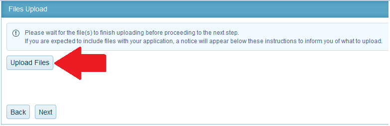 9. You may upload any files required with your application. Files uploaded must be in PDF format.