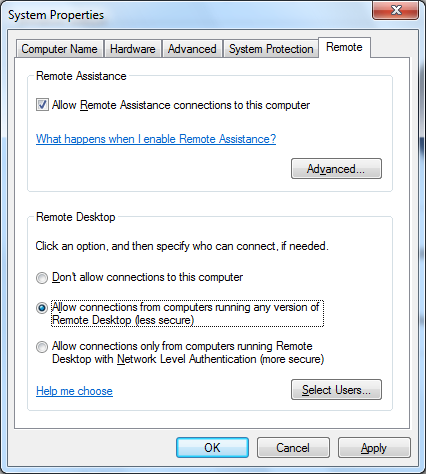 Figure 9: Allow Remote Connections In the properties window (should already be open) note the full computer name as shown in Figure 10.