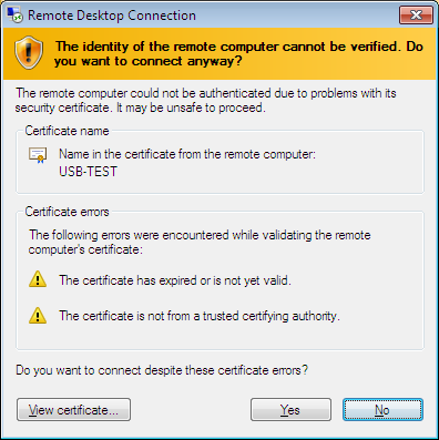Figure 13: Possible Security Error The system should now connect to the host computer and bring up the remote desktop window.