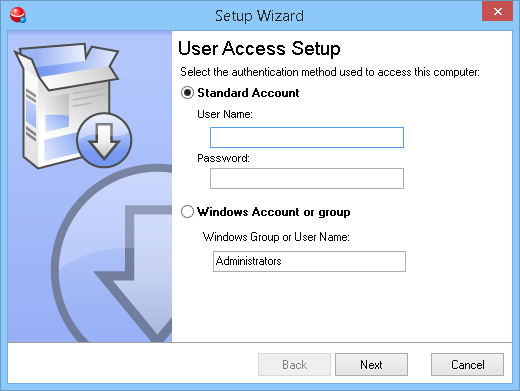 Once you have finished the install the setup program will ask you what type of username you would like to use: 1.