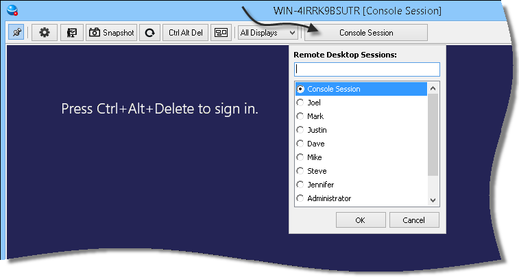 Controlling Remote Desktop Sessions When you connect to a remote machine, it is possible to jump into any active remote desktop session and control them just like the desktop.