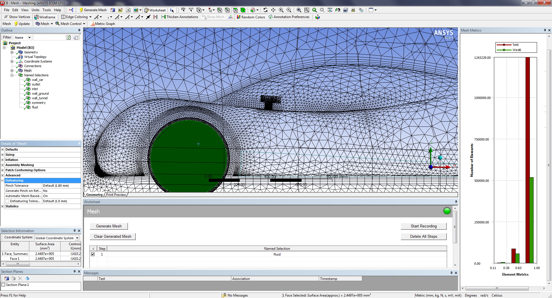 ANSYS Meshing Graphics User Interface Toolbars Outline Graphics Window Mesh  Metrics Details View Selection Information