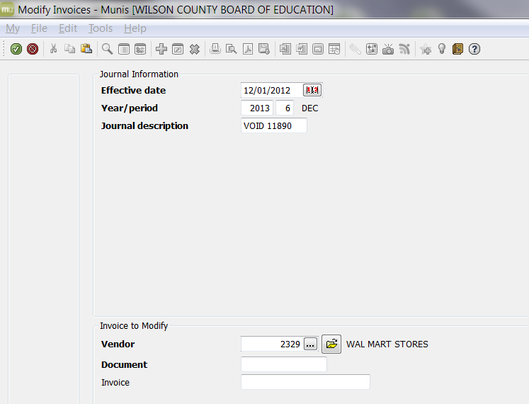 7. The selected invoice will pull or a list with invoices for the selected vendor will