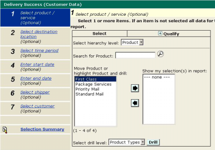 5.1.2 Product / Service Prompt Use the Product/Service prompt to select the product(s) or service(s) that you wish to include in your report.