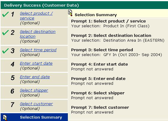5.1.8 Selection Summary The Selection Summary link serves as the final check to view selection criteria
