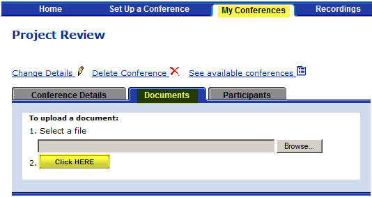 After you create the conference, if you need to reschedule the time or edit any other conference details, see Modifying a Conference.