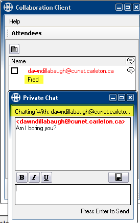 Chat Tab The Chat tab allows the host and attendees to communicate using the Keyboard Chat feature to send and receive text messages during a Web conference. To use Keyboard Chat: 1.