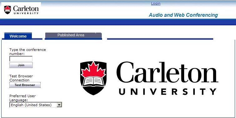 Welcome Page Both registered and nonregistered users can access the Welcome and Published Area pages without logging into AWC. The URL is: awc.carleton.