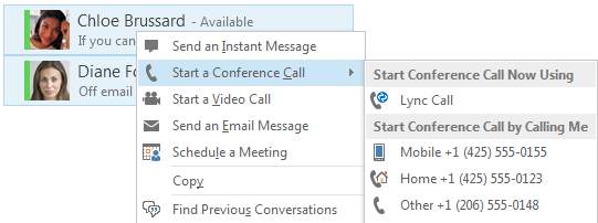 Start a conference call 1. In your Contacts list, select multiple contacts by holding the Ctrl key, and clicking the names. 2. Right-click a selected name, then click Start a Conference Call. 3.