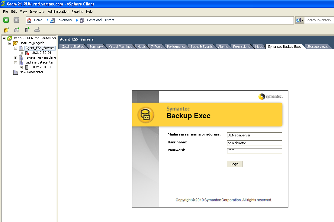 Symantec Backup Exec Management Plug-in 2.