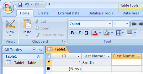 Microsoft Access 007 - Module I Enter Data into a Table Once a table has been created, data can be entered.