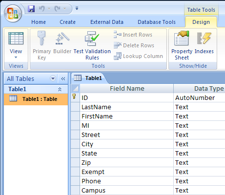 . In the Home tab>views group, select Datasheet View.. Under FirstName, type in new data. e.g. Sue 4.