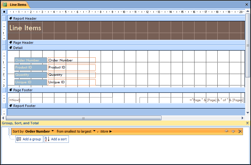 Moving Up to Office 2007 - Access Lesson 6 - Working with Reports The Group and Sort task pane Procedures 1. Open the desired report in Design view. 2. Select the Group & Sort button in the Grouping & Totals group on the Design tab.