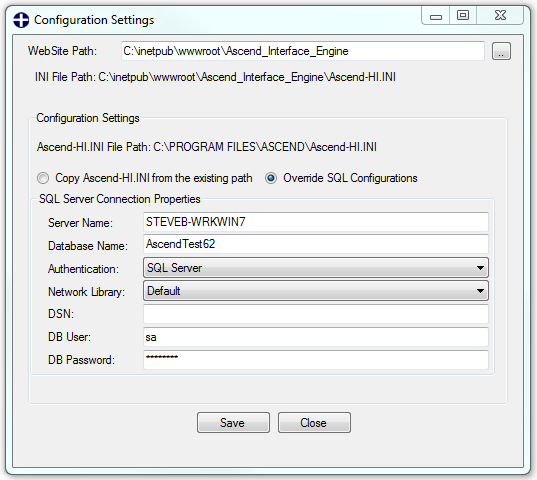 e. On the following Configuration Settings screen, make sure the connection information is correct in the SQL Server Connection Properties section. You can select the Copy Ascend- HI.