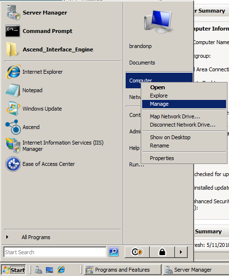 Appendix: Preparation for installing the Ascend Interface Service Engine on Windows 2008 server The first item that needs to be completed in preparation for the Ascend Interface Service Engine is to