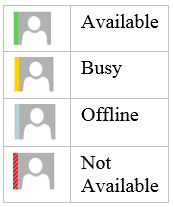 Availability Status in Skype for Business This section describes how to display your availability to others, and how to view the availability of others.