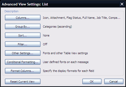 Sort contacts by criteria Go to View tab Arrangement group Click on a desired criteria in the criteria groups gallery Change the display of fonts To change the font
